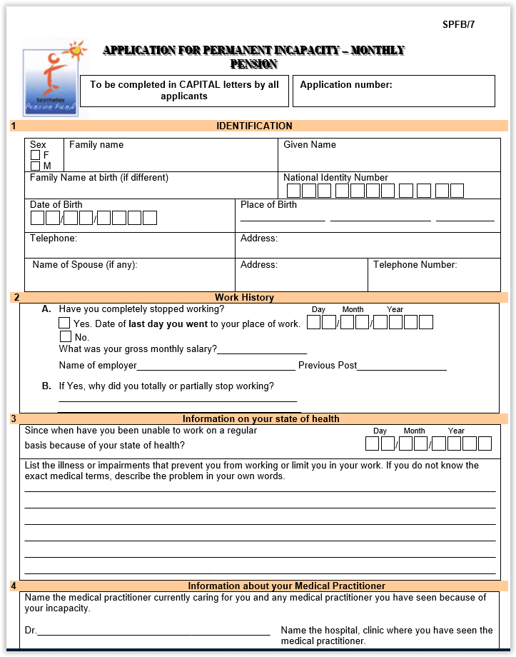 Incapacity Monthly Pension Application Form