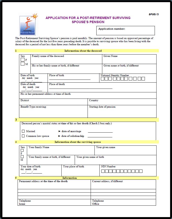 Post Retirement Surviving Spouse's Pension Application form