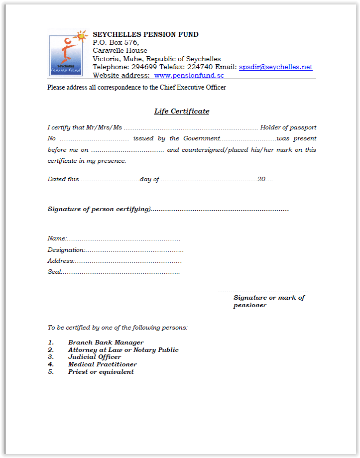 Download Life Certificate Form