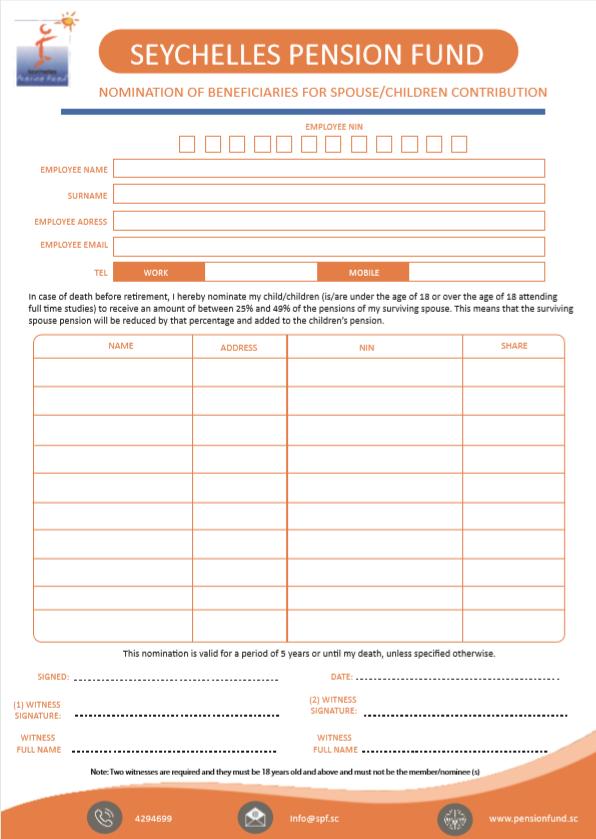 Spouse/Children Contribution Beneficiaries Nomination form
