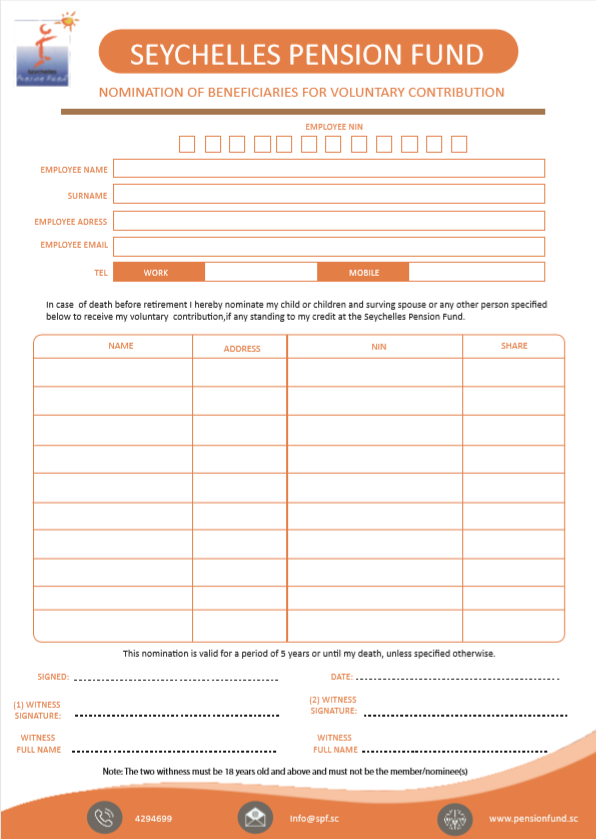 Voluntary Contribution Beneficiaries Nomination Form